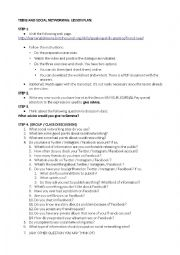 English Worksheet: SOCIAL NETWORKS LESSON PLAN