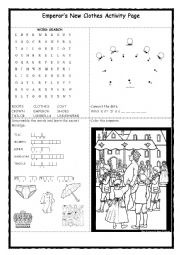 Emperor´s New Clothes, Listening, Speaking, Vocabulary TWO PAGES