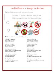 English Worksheet: Invitations 3 Accepting and Declining