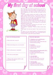 English Worksheet: My first day at school (with key)