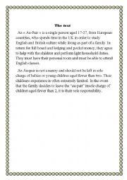English Worksheet: AN Au- Pair