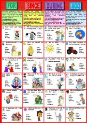 English Worksheet: FOR - SINCE - DURING - AGO. Pictionary + Exercises + KEY