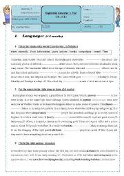 Mid Semester 1 English Test N2    8th form