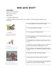 English worksheet: George´s Marvellous Medicine Who says what Handout