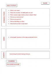 English worksheet: Summer camp application letter