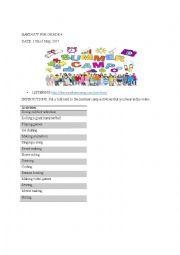 English worksheet: Summer camp activities