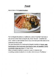 English Worksheet: Food and Full English Breakfast