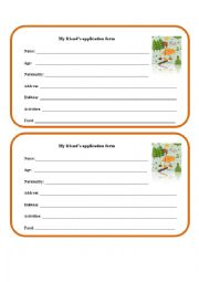 English worksheet: My friend´s application form (for a summer camp)