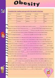 English Worksheet: Reading and Writing Tasks OBESITY