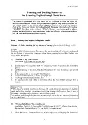 English Worksheet: Learning and Teaching Resources for Learning English through Short Stories