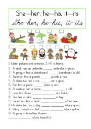 English Worksheet: his, her, its, my practice