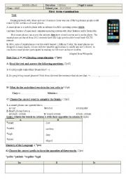 English worksheet: First term examination for 4MS