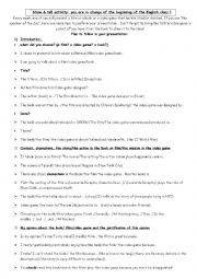 English worksheet: Show and Tell