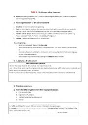 English Worksheet: Writing an advertisement