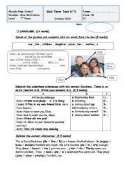 English worksheet: Mid Test N1 for 7th forms