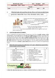 English worksheet: mid sem 1 test n 2