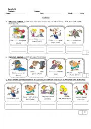English worksheet: exam about different tenses