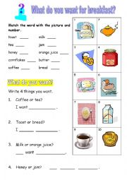 English Worksheet: What do you want for breakfast?