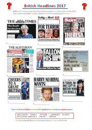 British Newspaper Headlines 2017