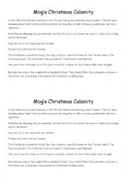 English Worksheet: Mog the Christmas Cat - Early primary reading
