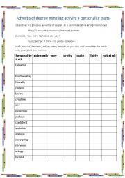 English Worksheet: Adverbs of degree+personality adjectives speaking practice