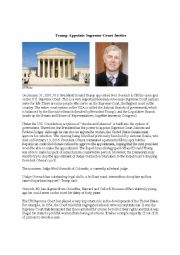 Trump Appoints Supreme Court Justice Comprehension Reading