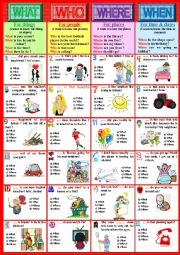 English Worksheet: QUESTION WORDS. Rules + exercises. Part 1. WHAT WHO WHERE WHEN