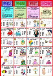 English Worksheet: QUESTION WORDS. Rules + exercises. Part 2. WHICH WHOSE WHY HOW