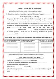 English Worksheet: let everyday be an earth day