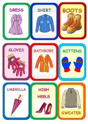 English Worksheet: Clothes Super Memory Game 1