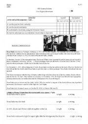 Rosa Parks Reading Comprehension test