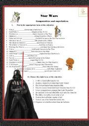 English Worksheet: Star wars comparatives and superlatives