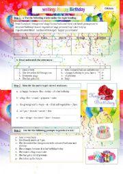 English Worksheet: happy birthday : writing as a process