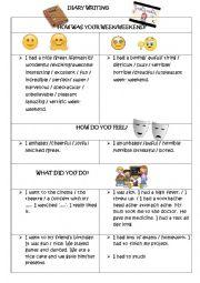 English Worksheet: DIARY/JOURNAL WRITING