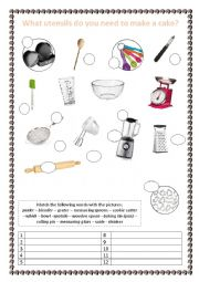 English Worksheet: Kitchen Utensils