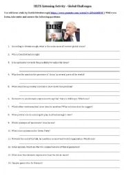 English Worksheet: IELTS Listening Activity on Global Challenges