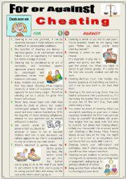 English worksheet: For or against cheating  (Debating)