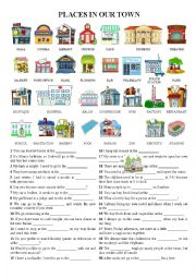 English Worksheet: Places in town - Pictionary + exercises (using the vocab and