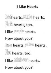 English Worksheet: Hearts poem colouring