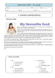 English Worksheet: 7th grade TEST - MY FAVOURITE FOOD