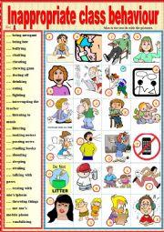 English Worksheet: Inappropriate class behavior. Matching ex + key