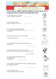 English Worksheet: Can you  solve the riddles- Farm Animals