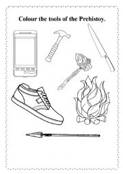 English Worksheet: Colour the tools of the Prehistory