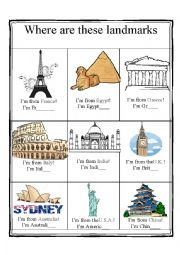 English Worksheet: Famous Landmarks - countries and nationalities