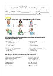 Test Health Problems / 7th grade