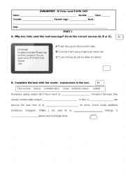 English Worksheet: 9th grade test technology 1st part
