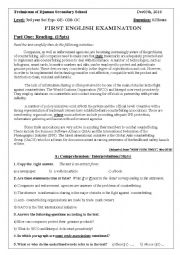 English Worksheet: Ethics in Business ( 1st exam for 3rd year AS)