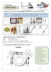 a video and a worksheet about table manners   and table etiquette setting