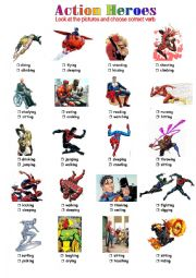 English Worksheet: Action Heroes
