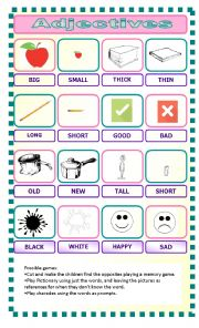 English Worksheet: Adjectives: three games
